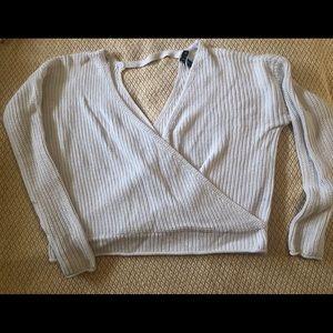 White Crossed Sweater